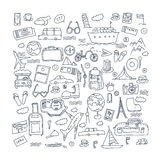 Hand drawn travel, tourism doodles elements vector illustration. Stock Photography