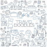 Hand drawn travel, tourism doodles elements vector illustration. Royalty Free Stock Photos