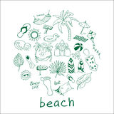 Hand drawn travel, vacation, beach doodle Icons collection on white background. Stock Photos