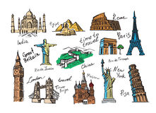 Hand drawn travel. Vector hand drawn travel icon sketch doodle Royalty Free Stock Image