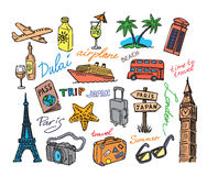 Hand drawn travel. Vector hand drawn travel sketch doodle set Royalty Free Stock Photos