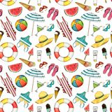 Hand drawn travel seamless pattern with umbrella, hat, swimming suit, coctail, ice cream, ball, lifebuoy, sun glasses. Hand drawn travel watercolor seamless royalty free illustration