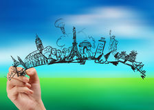 Hand drawn traveling around the world. On nature background royalty free stock image