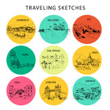 Hand drawn traveling landscape sketch. Nature, architect picture. Touristic sight seeing. Print design, book, article illustration. Europe, Asia, America Royalty Free Stock Images