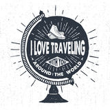 Hand drawn travelling label with globe vector illustration. Hand drawn textured vintage label, retro badge with globe and sneakersvector illustration and Stock Photography