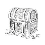 Hand Drawn Treasure Chest Stock Images