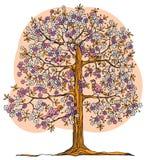 Hand drawn tree with birds Royalty Free Stock Photos