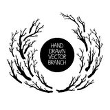 Hand drawn tree branches set, branches round frame. Vector Royalty Free Stock Photos