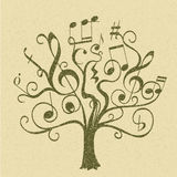 Hand drawn tree with curly twigs with musical notes and signs Royalty Free Stock Images