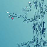 Hand drawn tree. On grunge background Royalty Free Stock Image