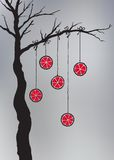 Hand drawn tree with hanging oranges Stock Image