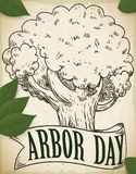 Hand Drawn Tree and Ribbon with Leaves for Arbor Day, Vector Illustration. Hand drawn design with beautiful tree and a ribbon with some leaves scattered around stock illustration