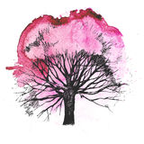 Hand drawn tree silhouette Stock Photography
