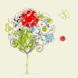 Hand-Drawn tree. Sketch. Universal template for greeting card, web page, background Royalty Free Stock Photos