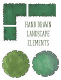 Hand drawn tree top, trees and bushes, vector. Hand drawn tree top collection, trees and bushes, vector Royalty Free Stock Image