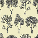 Hand drawn trees seamless pattern Stock Photos