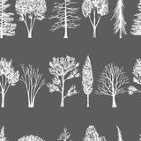 Hand drawn trees seamless pattern Royalty Free Stock Photography