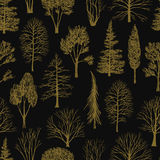 Hand drawn trees seamless pattern Stock Images