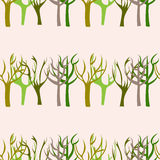Hand Drawn Trees Seamless Pattern. Vector illustration Stock Photo