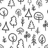 Hand-drawn trees on white, retro seamless pattern Royalty Free Stock Image