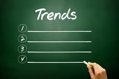 Hand drawn TRENDS blank list concept on blackboard Stock Photos