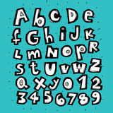Hand Drawn Trendy Alphabet Stock Images