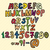 Hand drawn Trendy Font in Colors Stock Photos