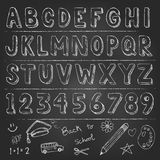 Hand drawn trendy letters alphabet back to school Royalty Free Stock Images