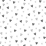 Hand drawn triangle geometric seamless pattern. Black and white abstract simple ornament with geometric elements royalty free illustration