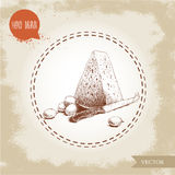 Hand drawn triangle piece of cheese. Stock Photo