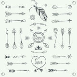 Hand Drawn Tribal Arrows Vector. Boho Style Illustration Stock Images