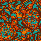 Hand drawn tribal blue and orange background. Vector seamless et Royalty Free Stock Image