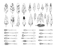 Hand drawn tribal collection with arrows and Stock Photo