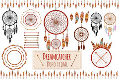 Hand drawn tribal collection with arrows, feathers, dreamcatcher, frame and border, floral elements for design logo, invitation an Royalty Free Stock Image