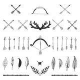 Hand drawn tribal collection with bow and arrows Stock Image
