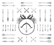 Hand drawn tribal collection with indian arrows Royalty Free Stock Image