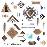 Hand drawn tribal elements set Stock Photography