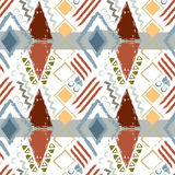 Hand drawn tribal ethnic colorful seamless pattern on white back Royalty Free Stock Photos