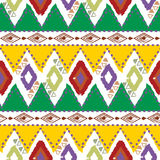 Hand drawn tribal ethnic colorful seamless pattern on white background Stock Photo