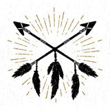 Hand drawn tribal icon with crossed arrows vector illustration Stock Image