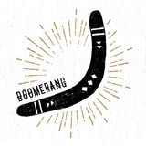 Hand drawn tribal icon with a textured boomerang vector illustration.  Royalty Free Stock Photo