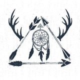 Hand drawn tribal icon with textured dream catcher, horns, and arrows vector illustration. S Stock Image