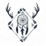 Hand drawn tribal icon with textured dream catcher, horns, and arrows vector illustrations Royalty Free Stock Photography