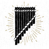Hand drawn tribal icon with a textured pan flute vector illustration.  Royalty Free Stock Photography