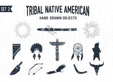 Hand drawn tribal icons set. Royalty Free Stock Photography