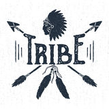 Hand drawn tribal label with headdress and arrows vector illustration. Royalty Free Stock Photography