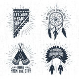 Hand drawn tribal labels set and lettering. Royalty Free Stock Image