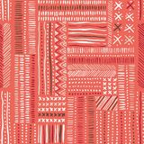 Hand drawn tribal marks, cross stitches on coral background vector seamless pattern. Abstract geometric print. Hand drawn colorful tribal marks, mimicking folk Royalty Free Illustration