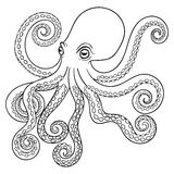 Hand drawn tribal Octopus, animal totem for adult Coloring Page. In zentangle style, for tattoo, illustration with high details  on white background. Vector Stock Photos