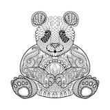 Hand drawn tribal Panda, animal totem for adult Coloring Page. In zentangle style , illustration with high details  on white background. Vector monochrome Royalty Free Stock Photography
